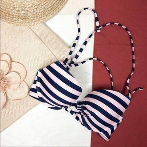 NWT Aerie Perkier Pushup Bikini Top Navy and Pink